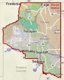 A map of our service area within Coconino County, Arizona.